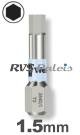 1,5mm zeskant / per stuk - RVS (INOX) 1/4 bit