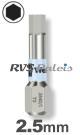 2,5mm zeskant / per stuk - RVS (INOX) 1/4 bit