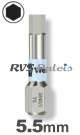 5,5mm zeskant / per stuk - RVS (INOX) 1/4 bit