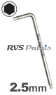 2,5mm zeskant / per stuk - RVS (INOX) inbussleutel