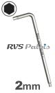 2,0mm zeskant / per stuk - RVS (INOX) inbussleutel